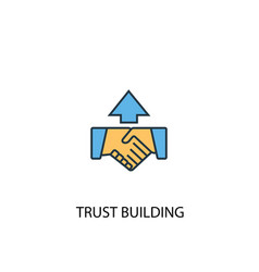 trust building concept 2 colored line icon simple vector image