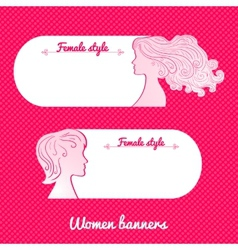 Two beautiful female romantic banner vector image vector image