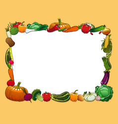 Vegetables frame with farm and garden fresh food vector