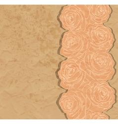 Vintage background rose in the corner of old paper vector