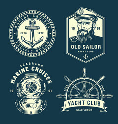 vintage nautical logos collection vector image