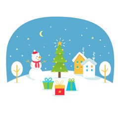 winter holidays with snowy town and vector image
