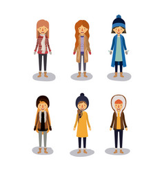 Winter people background with women with coats and vector