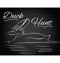 with duck in the hunter hat vector image