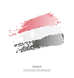 yemen flag with halftone effect vector image