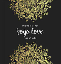 Yoga business card design in gold an black vector