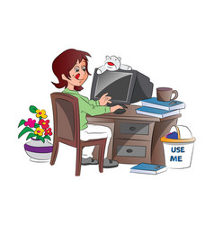 young woman working from home vector image