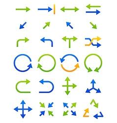 Blue green arrows icons set vector image vector image