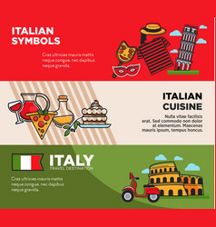 italy travel destination posters with national vector image