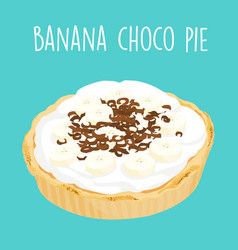 yummy banana chocolate pie vector image