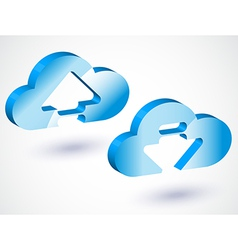 3d cloud upload vector image vector image
