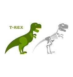 Dinosaur tyrannosaurus skeleton bones and skull vector