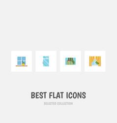 flat icon window set of glass frame flowerpot vector image