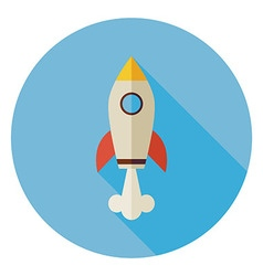 Flat Space Shuttle Rocket Circle Icon with Long vector image vector image
