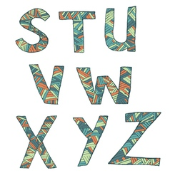 Hand drawn artistic font from lines letters S-Z vector image