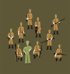 soldiers and officer vector image