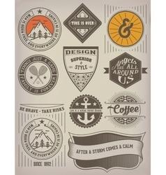 Vintage insignias logotypes set vector