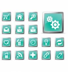 web icons glossy green vector image vector image
