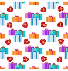 adorned festive present boxes seamless pattern vector image