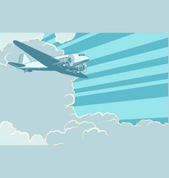 Air transport is flying in the sky plane retro vector