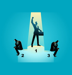 businessmen on podium vector image