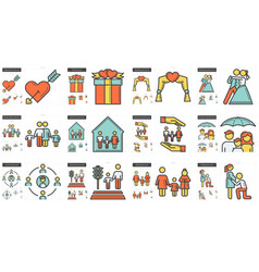 family line icon set vector image