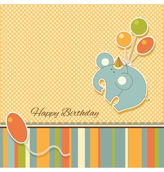 New baby announcement vintage card with elephant vector image