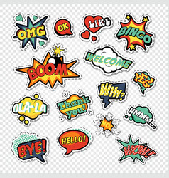 pop art comic speech bubbles with funny text vector image