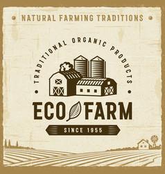 vintage eco farm label vector image