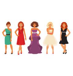 women in evening dresses vector image vector image