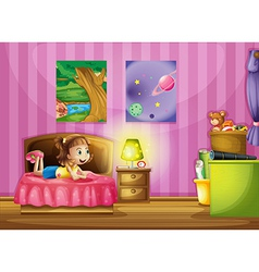 A little girl inside her colorful room vector image vector image