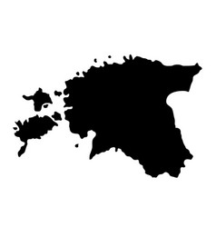 black silhouette country borders map of estonia vector image vector image