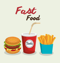 fast food burger design isolated vector image