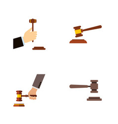 flat icon hammer set of hammer crime legal and vector image