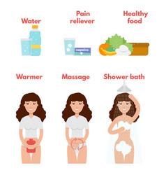 menstrual pain icons set period treatment concept vector image