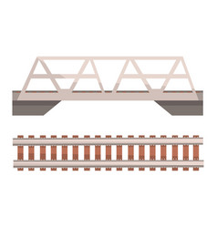 railway bridge and railroad rail section vector image vector image