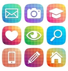 Trendy colorful icon set design element vector image