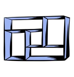 wooden shelf icon cartoon vector image