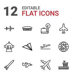 12 airplane icons vector image