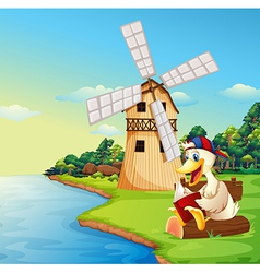 A duck reading a book near the windmill vector