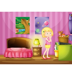 A girl wishing inside her room vector image