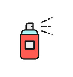 aerosol spray bottle spray can flat color line vector image