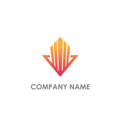 arrow building abstract company logo vector image
