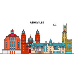 Asheville united states flat landmarks vector