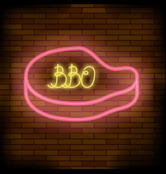 barbeque pub neon colorful sign vector image