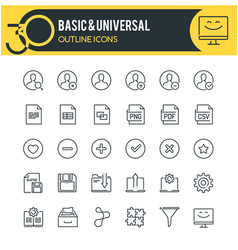basic web outline icons vector image