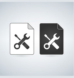 black and white settings file icon isolated on vector image