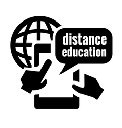 Black distance education icon vector