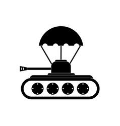 Black icon on white background tank on parachute vector
