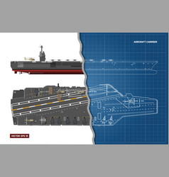 blueprint of aircraft carrier military ship vector image